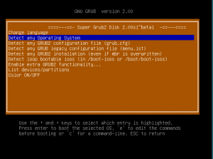 Super Grub2 Disk main screen screenshot