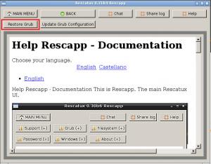 Grub options - Restore Grub button screenshot