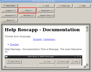 Main Menu - Grub options button screenshot