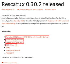 Rescatux Suggested Download Links screenshot
