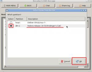 Select GNU Linux partition screenshot