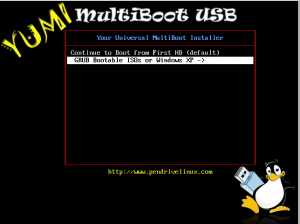 YUMI Boot - GRUB Bootable ISOs or Windows XP selected screenshot