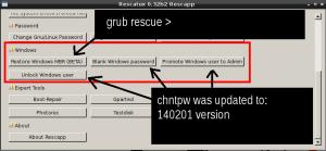 Rescatux 0.32b2 updated options : Restore Windows MBR, Blank Windows password, Promote Windows user to Admin and Unlock Windows user.