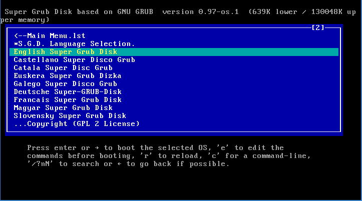 Super grub disk menu with help.png