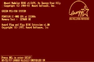 Award BIOS - Press DEL to enter setup screenshot