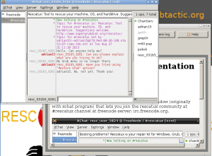 Rescatux Chat support session example screenshot