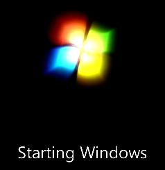 Microsoft Windows seven starts