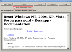 About to run Clear Windows Password option
