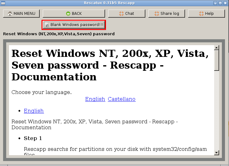 Howto - Clear Windows password with Rescatux