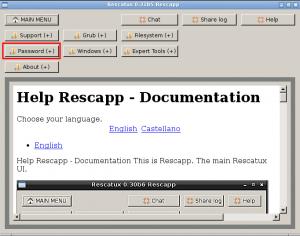 Main Menu - Password options selected