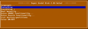 Super Grub2 Disk 2.01 beta 2 featuring 'Everything +' option