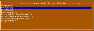 Super Grub2 Disk 2.01 beta 2 featuring 'Everything +' option
