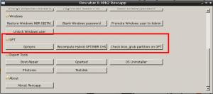 Rescatux 0.40b2 - New GPT options. Gptsync. Recompute CHS. Check bios_grub partition.
